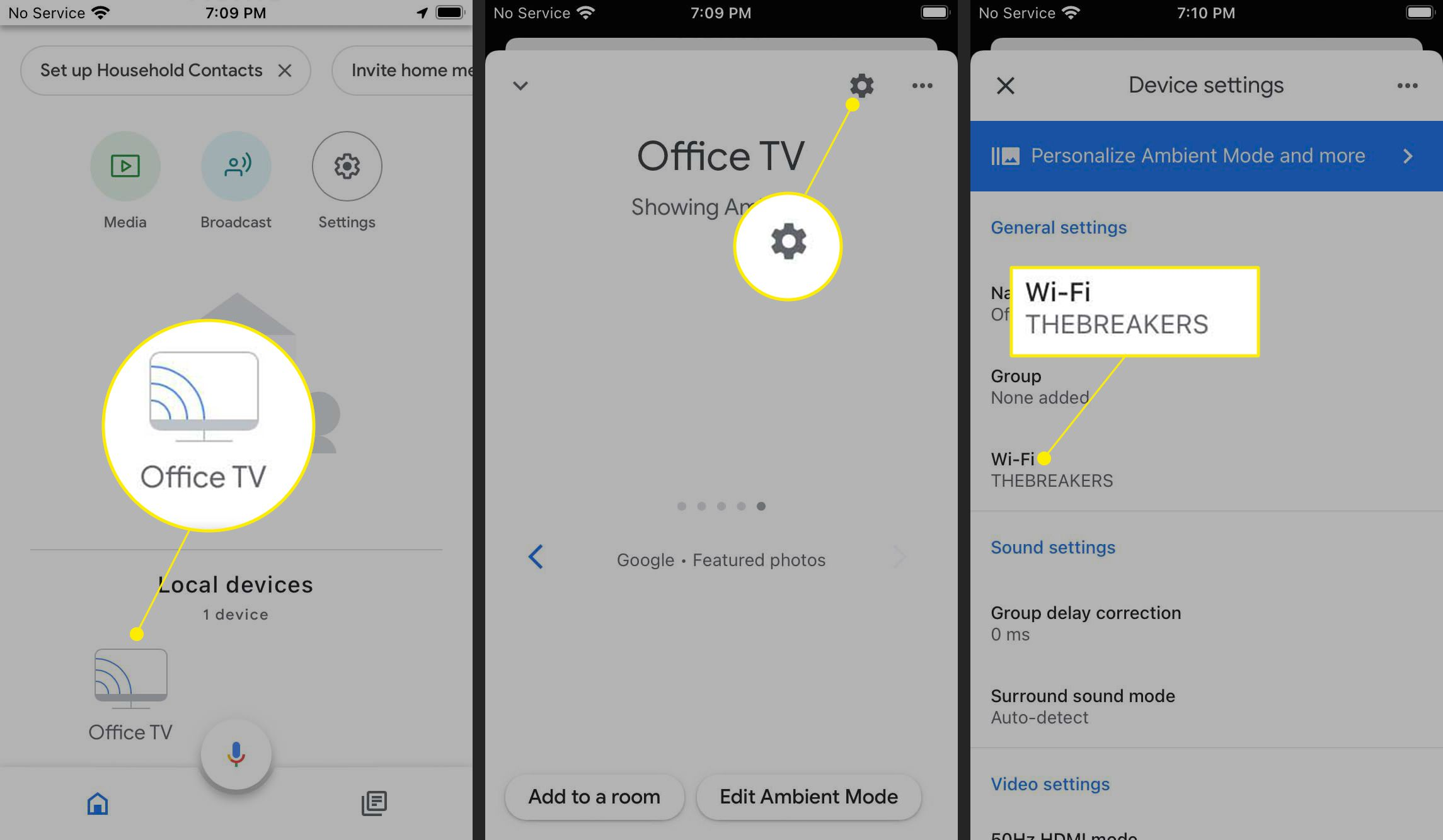 Google Home App with Office TV, Settings, and Wi-Fi highlighted