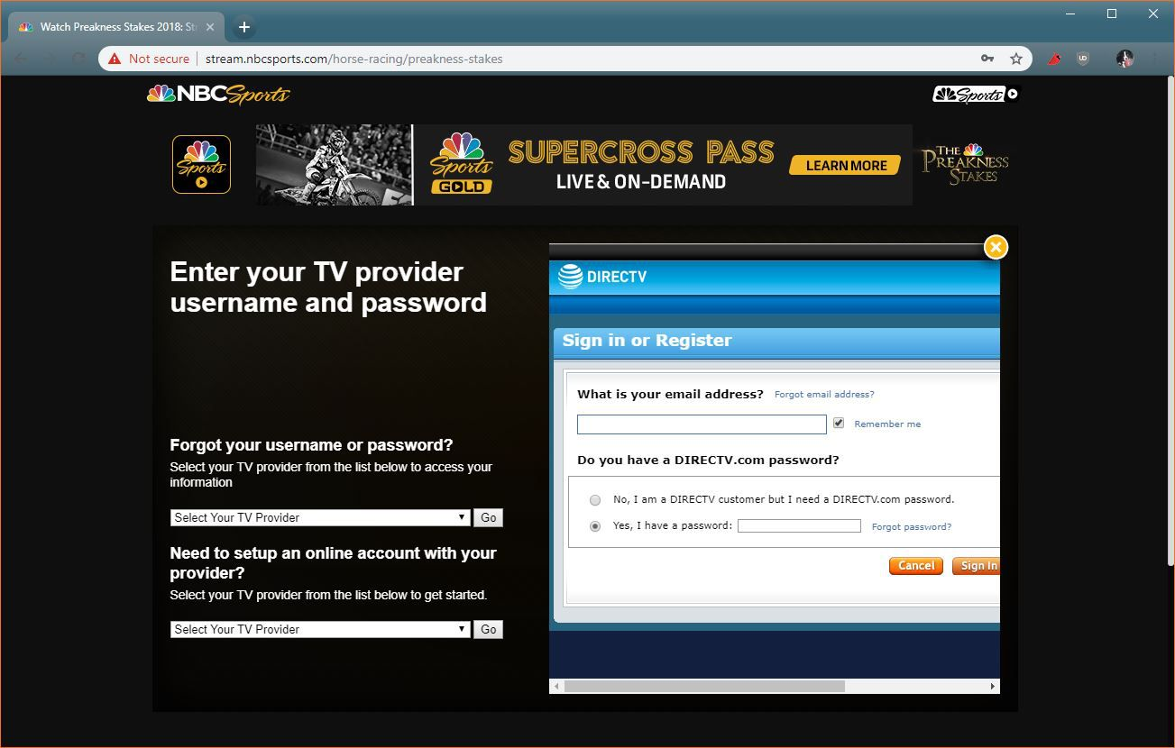 A screenshot of an NBC Sports TV login page.