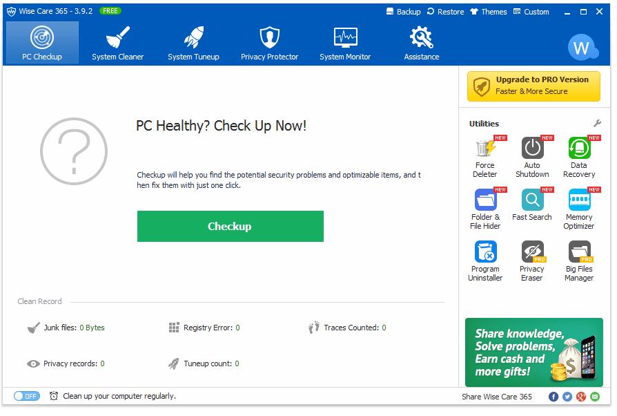 Screenshot of Wise Care 365 v3.9.2 in Windows 10
