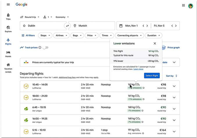 A Google Flight's user sorts search results to see flights with lower carbon emissions