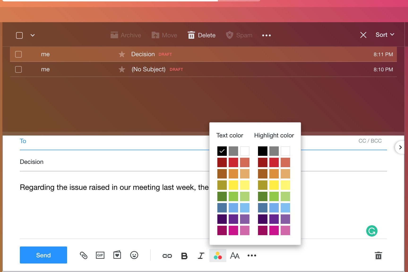 Yahoo Mail text and highlight color palette