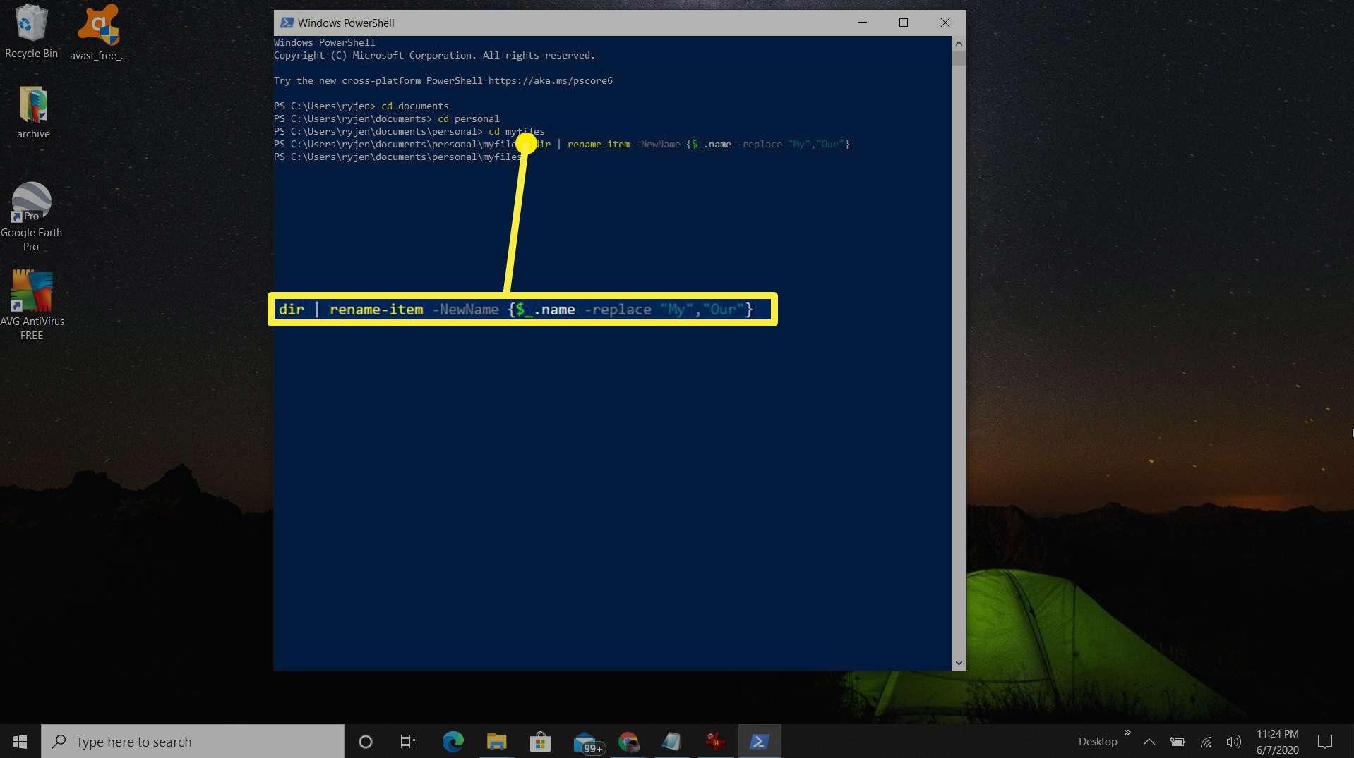 Screenshot of using PowerShell to rename multiple files