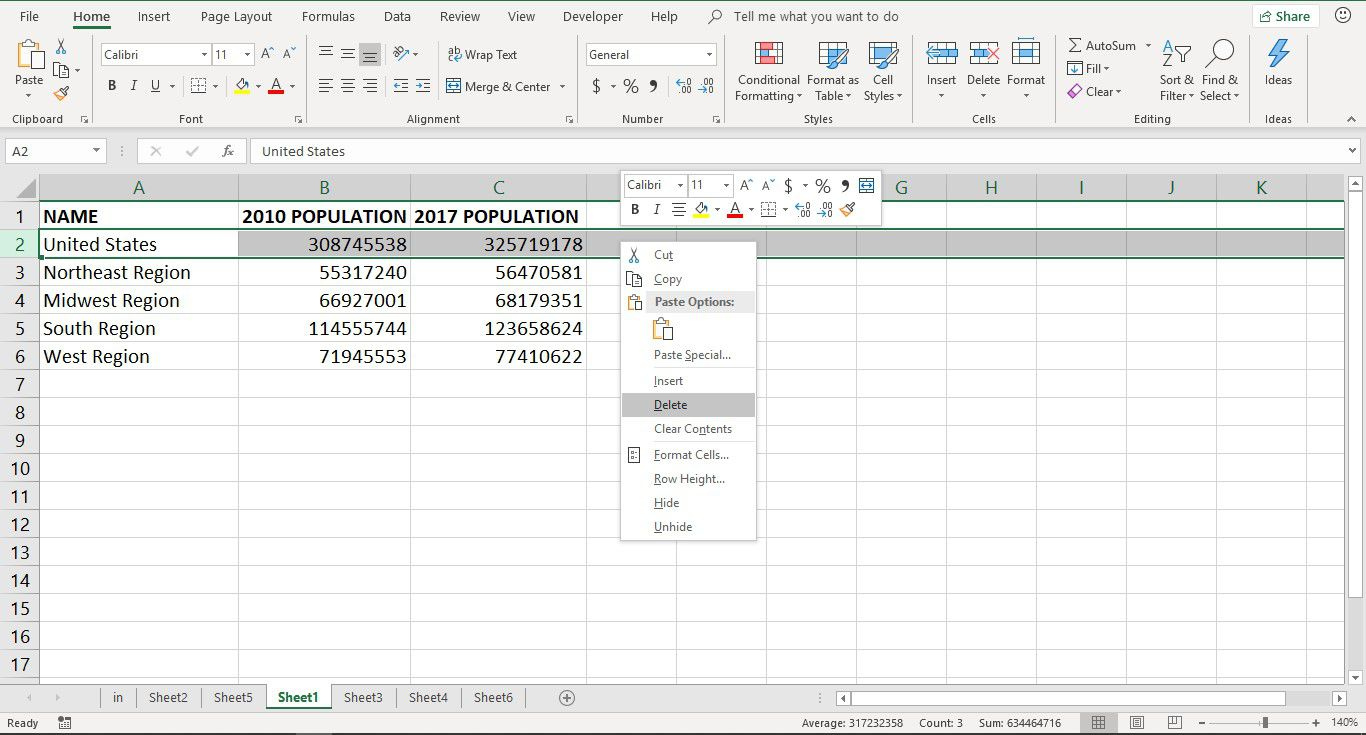 Add and Delete Rows and Columns in Excel