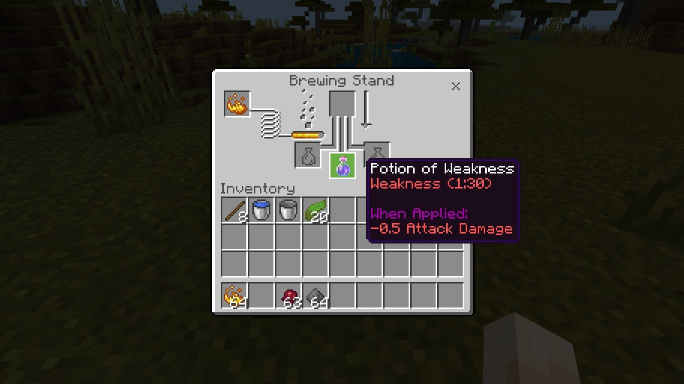 When the brewing process is finished, the Water Bottle will be replaced by a Potion of Weakness (1:30).