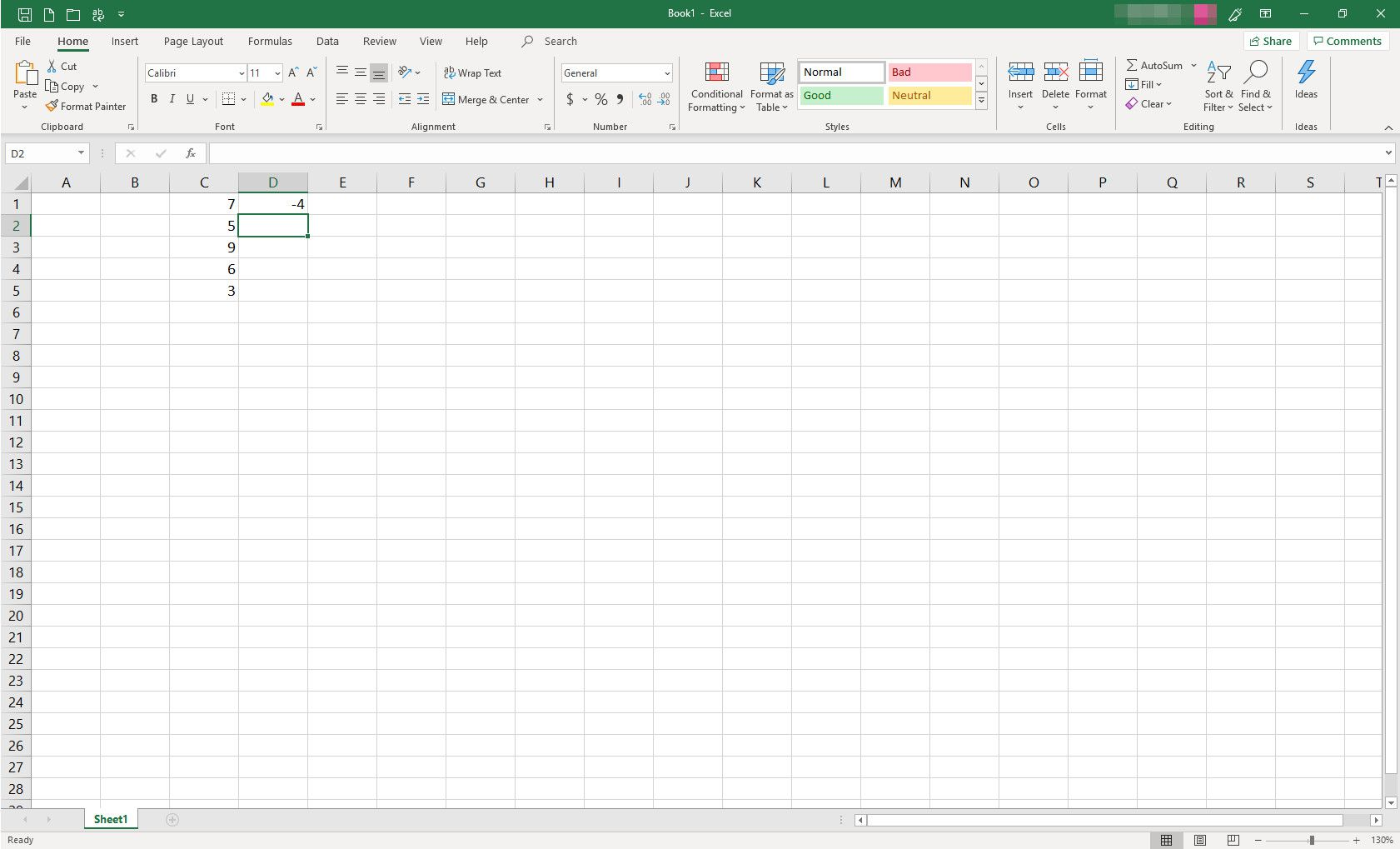 MS Excel spreadsheet with some cells populated