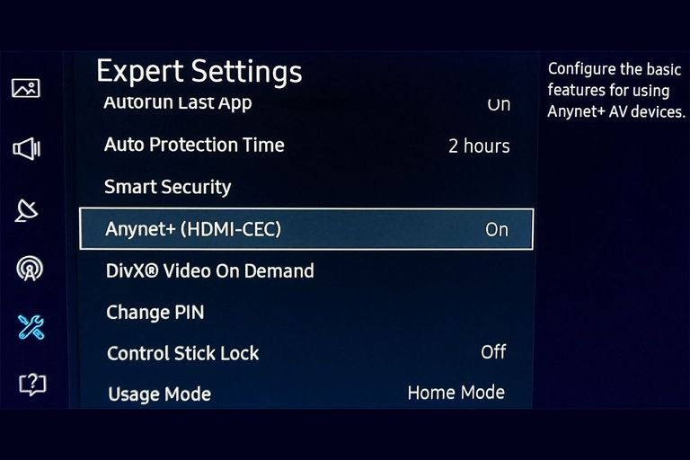 Samsung Anynet+ HDMI-CEC Setup Option in TV Menu screenshot