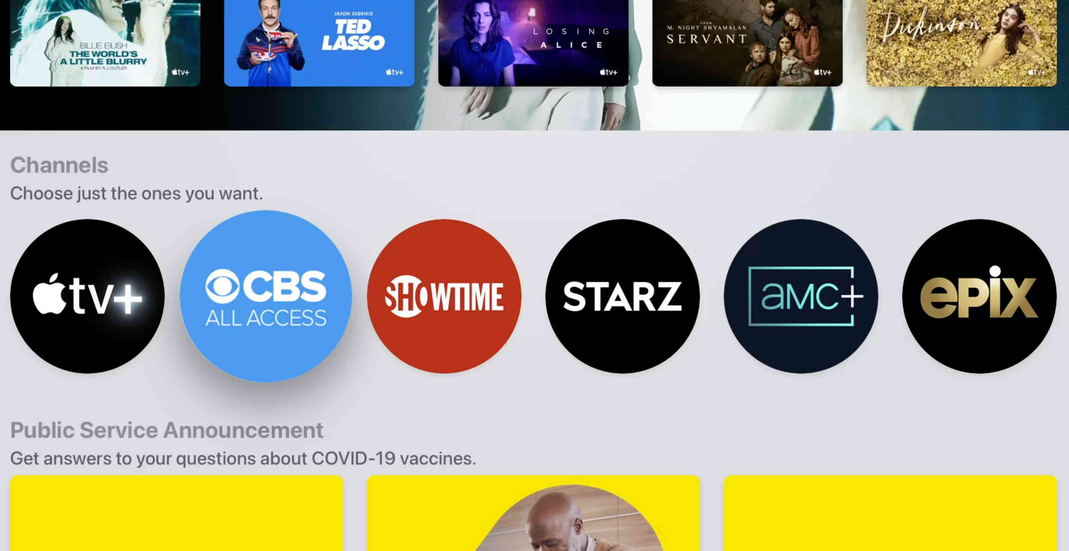 Available Channels in Apple TV app