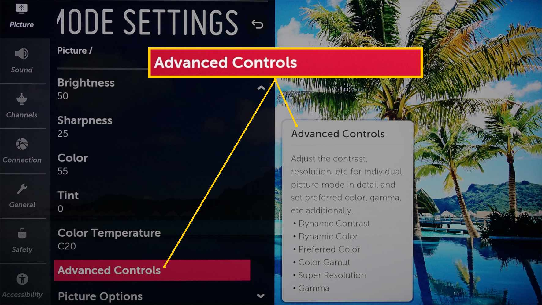 LG 4K Ultra HD TV – Advanced Picture Controls Selection