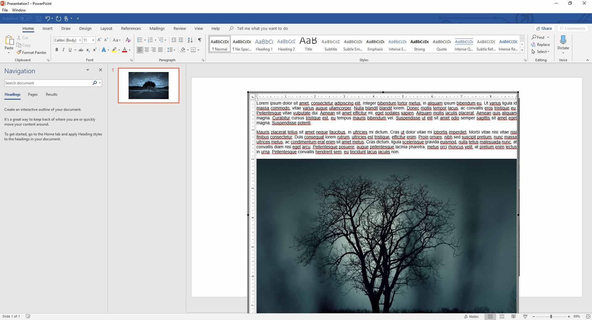 Word window in PowerPoint