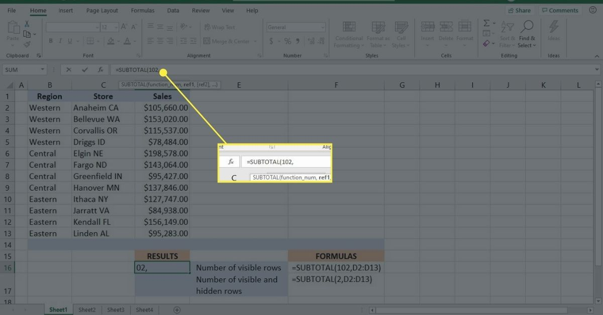 Complete the function_num argument in the SUBTOTAL function in Excel