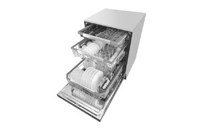 Smart dishwasher open with three racks pulled out to display dishes inside