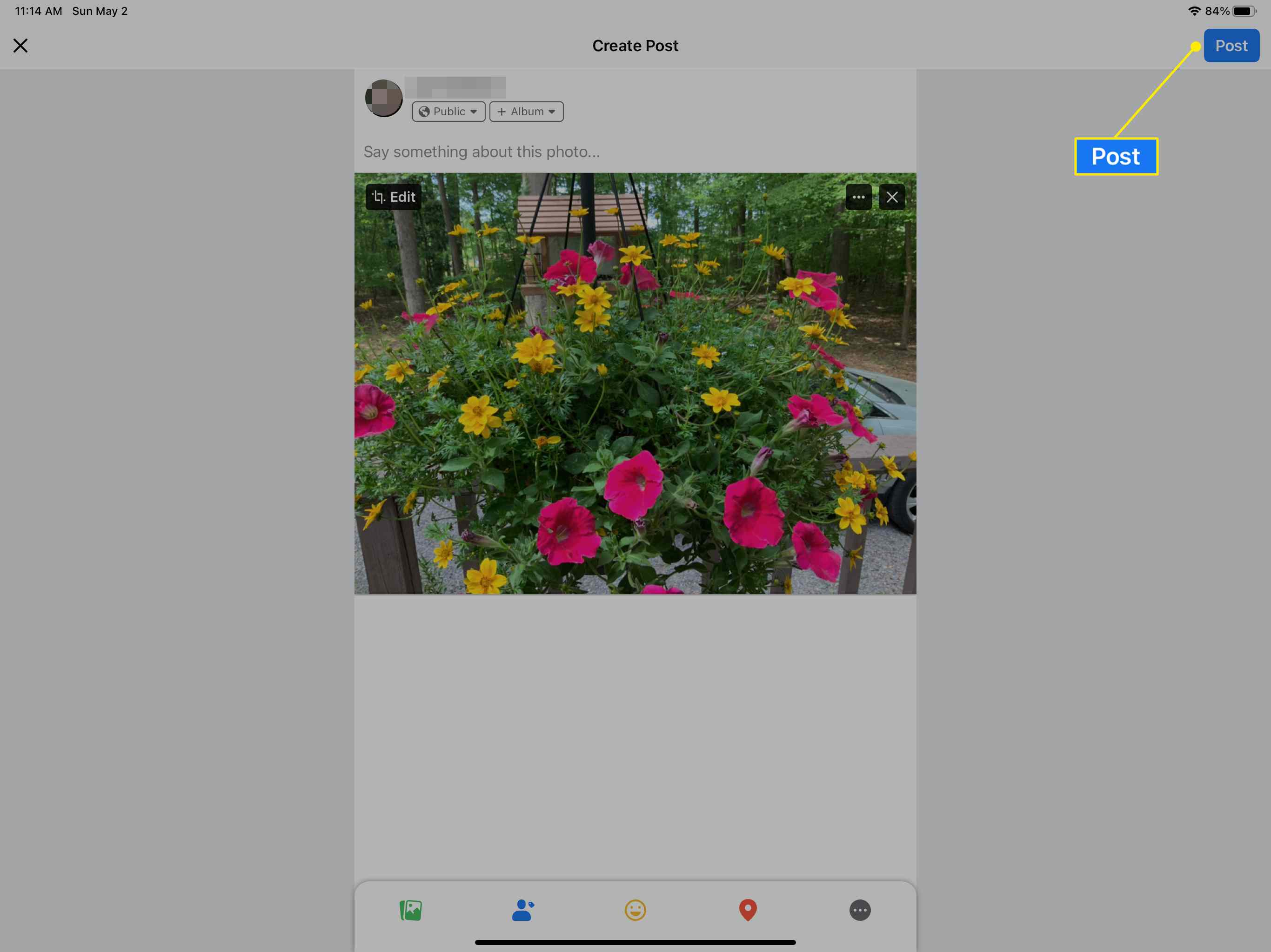 Post button in Facebook app for iPad