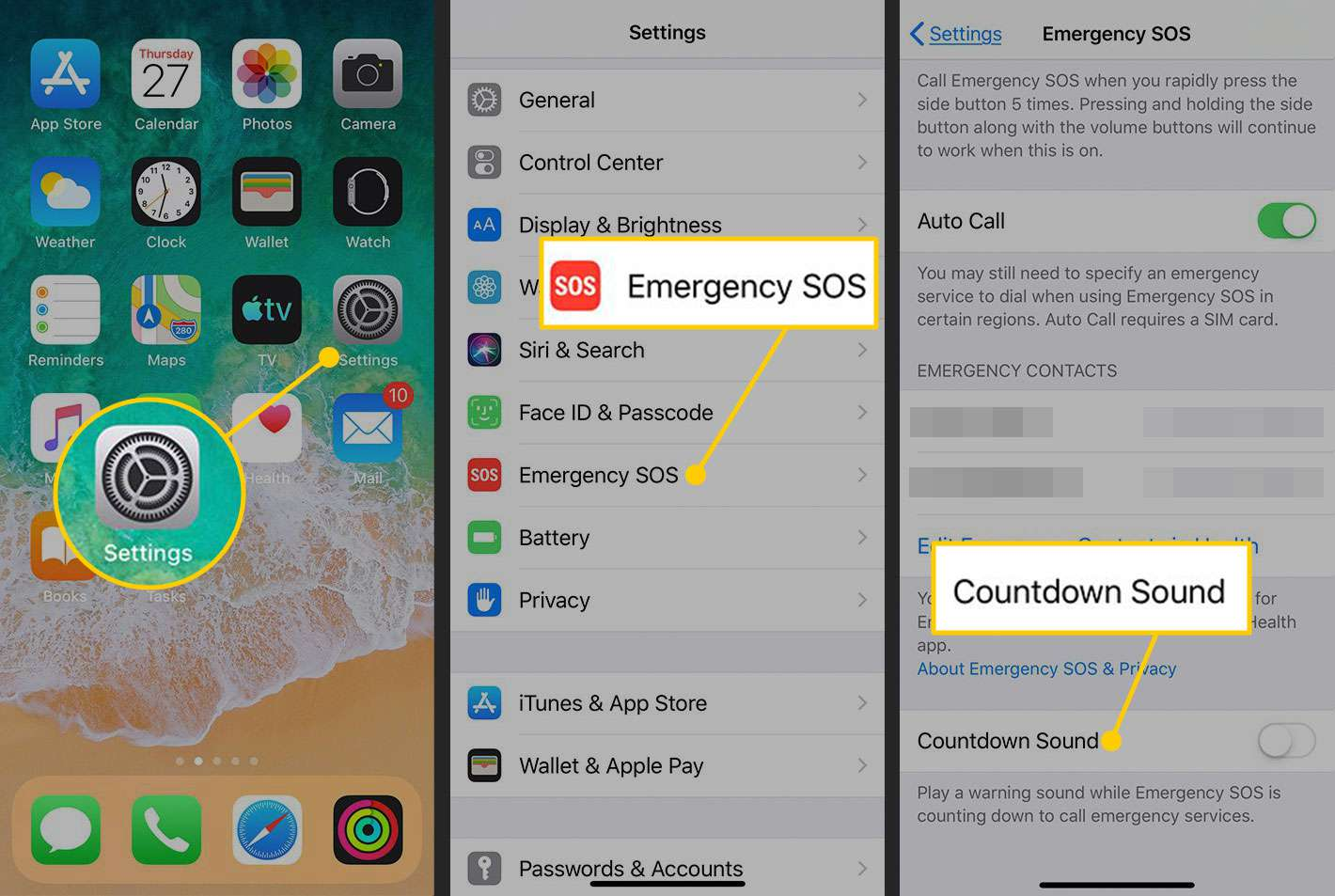 Turning off the countdown sound for SOS calls on an iPhone