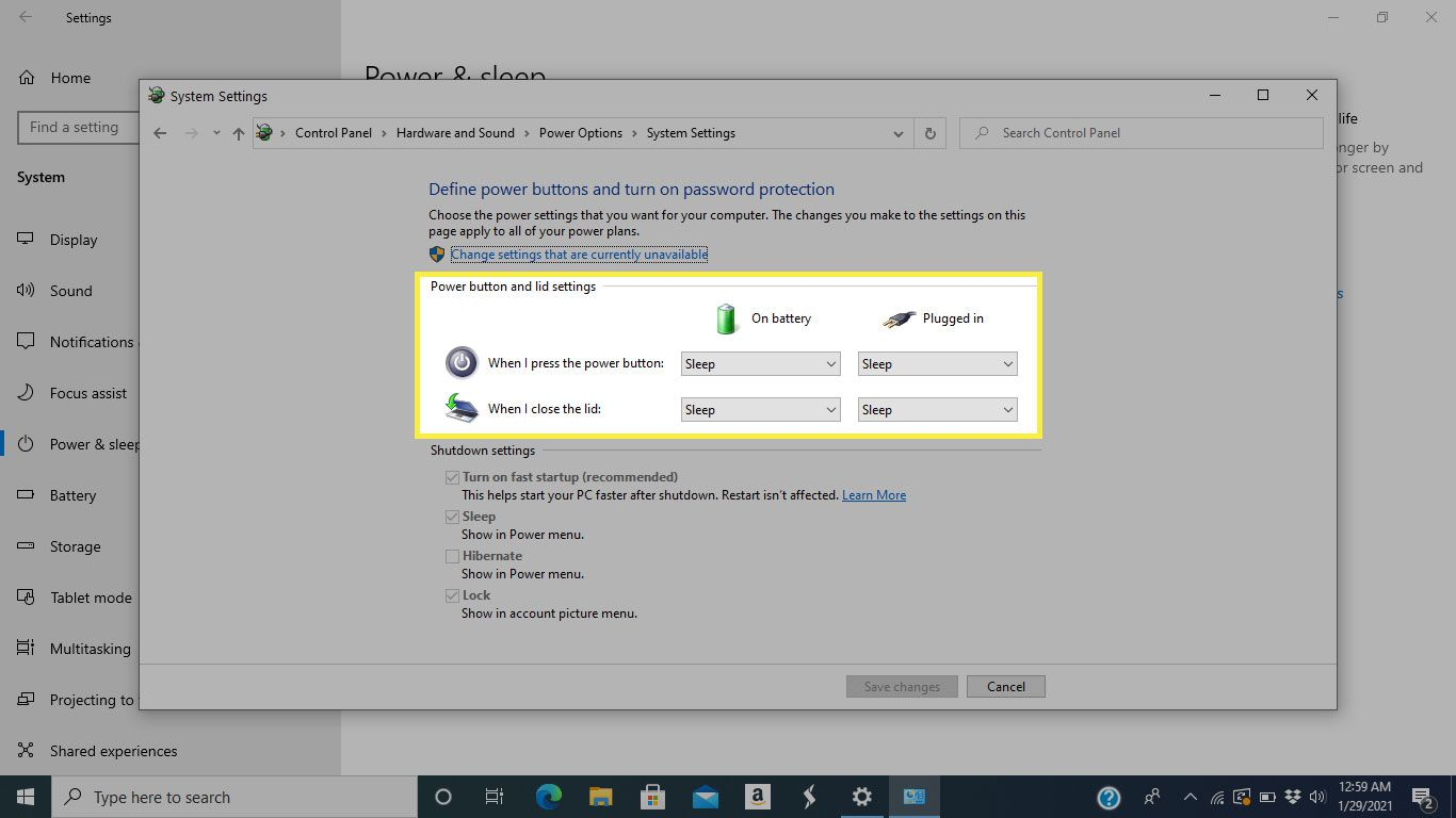 Power button and lid settings in Windows 10
