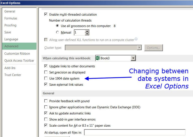 Changing the date system for dates and times in Excel screenshot