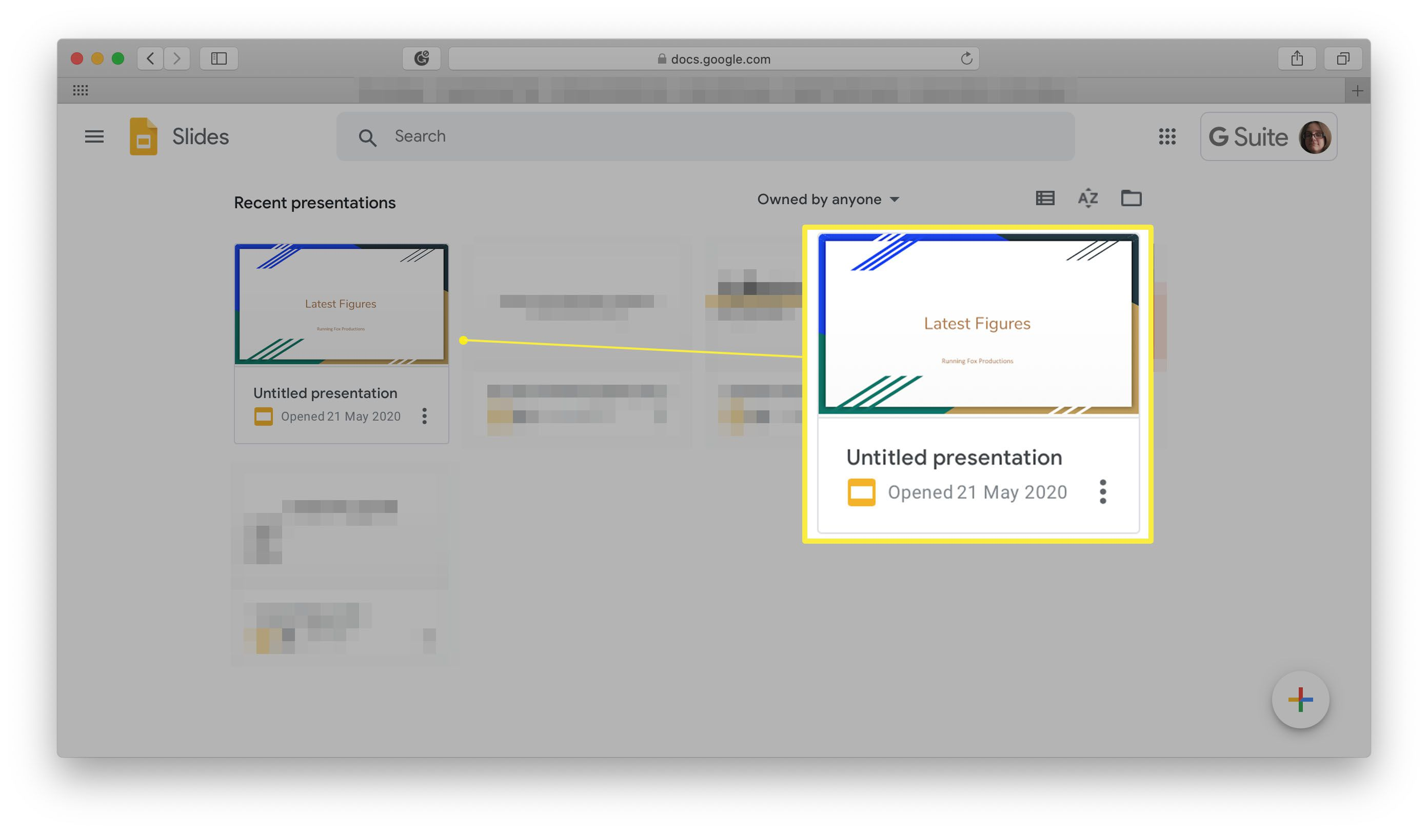 Google Slides with Recent presentations highlighted