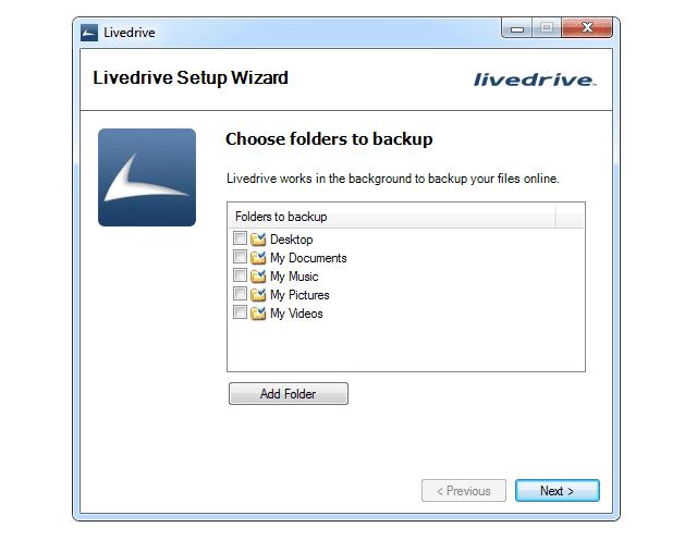 Screenshot of the Livedrive Setup Wizard