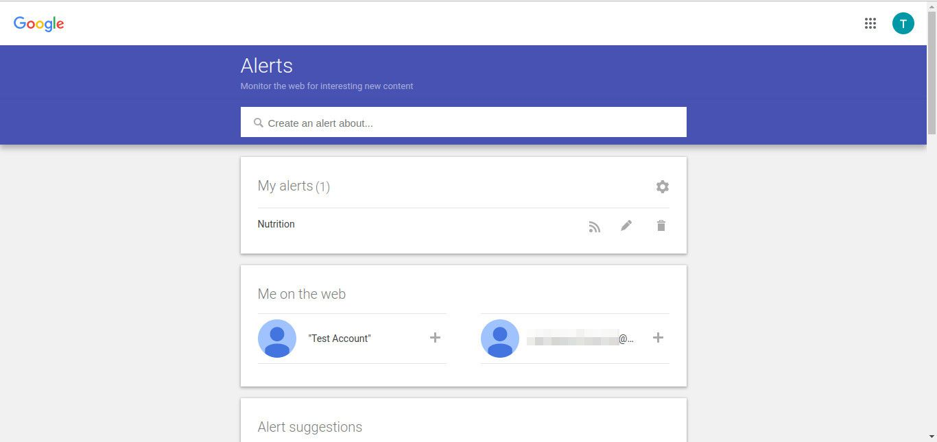 Google alert created screenshot