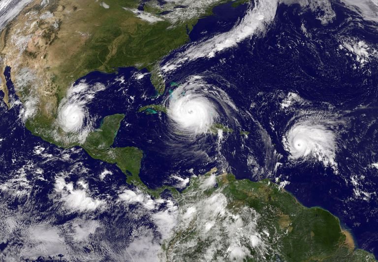 Hurricane Irma in the Caribbean Sea, Tropical Storm Jose (R) in the Atlantic Ocean and Tropical Storm Katia in the Gulf of Mexico