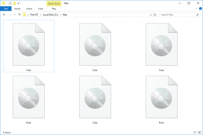 Screenshot of several ISO files in Windows 10
