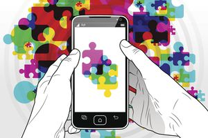 Illustration of a smartphone with puzzle pieces