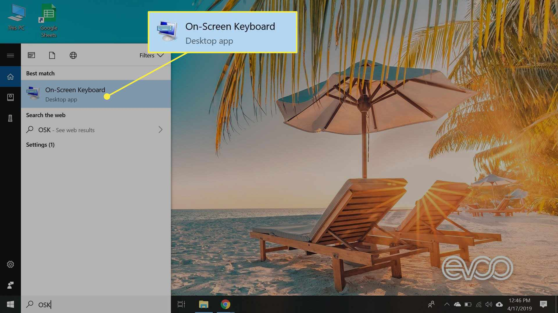 A screenshot of Windows 10 with the On-Screen Keyboard app highlighted