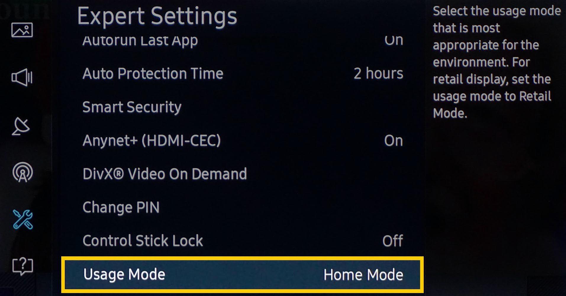 Samsung 4K UHD TV Home Use Mode