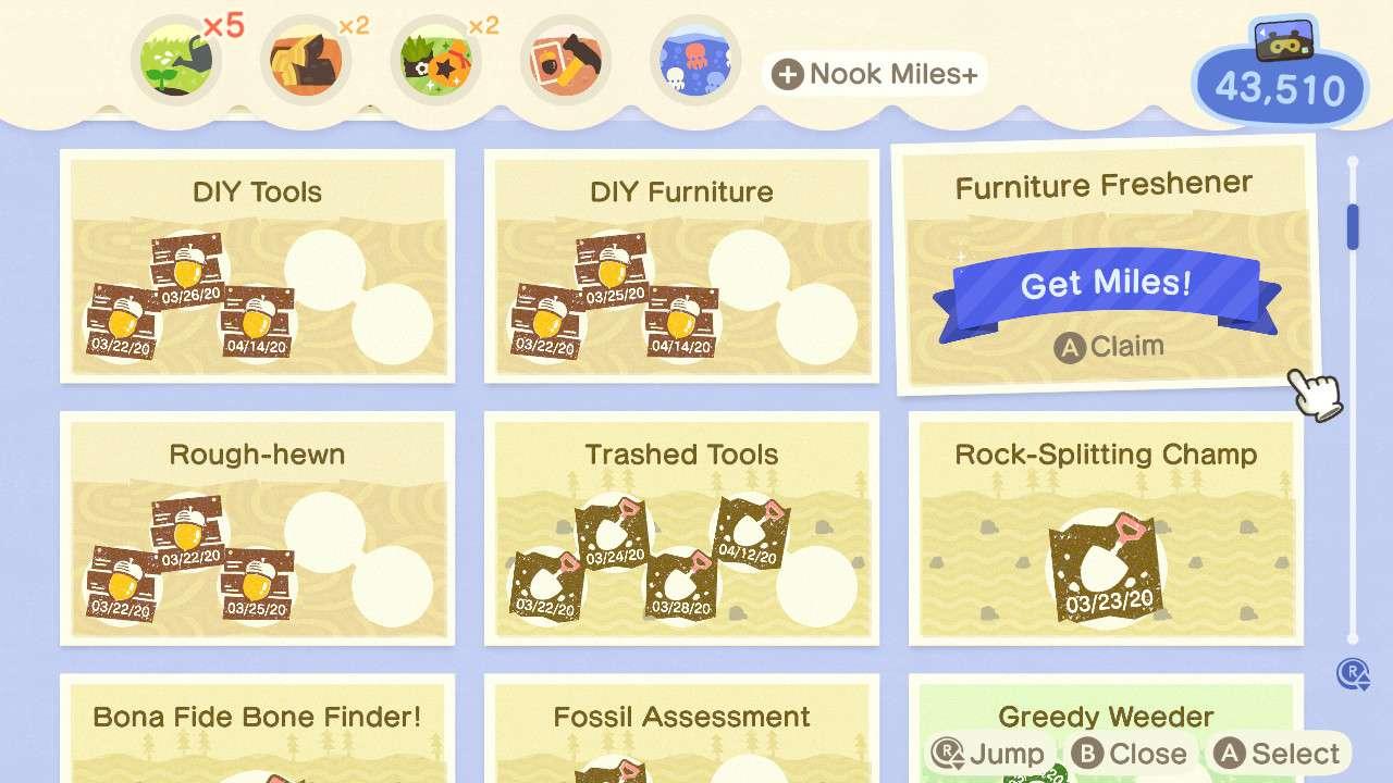 Nook Miles Milestones in Animal Crossing.