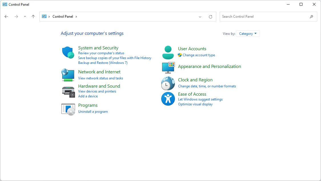 Windows 11 Control Panel