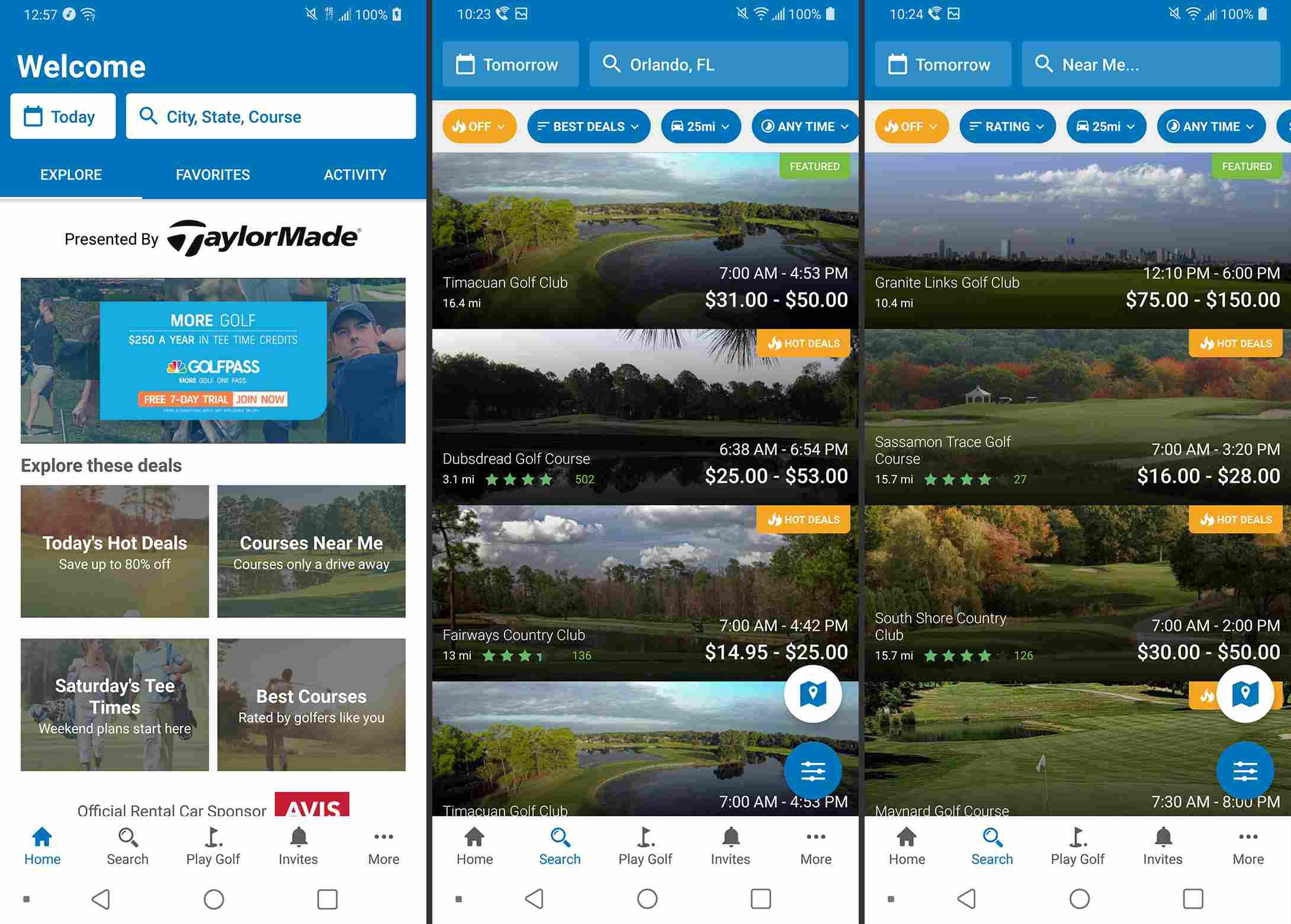 Golf Now app screenshots