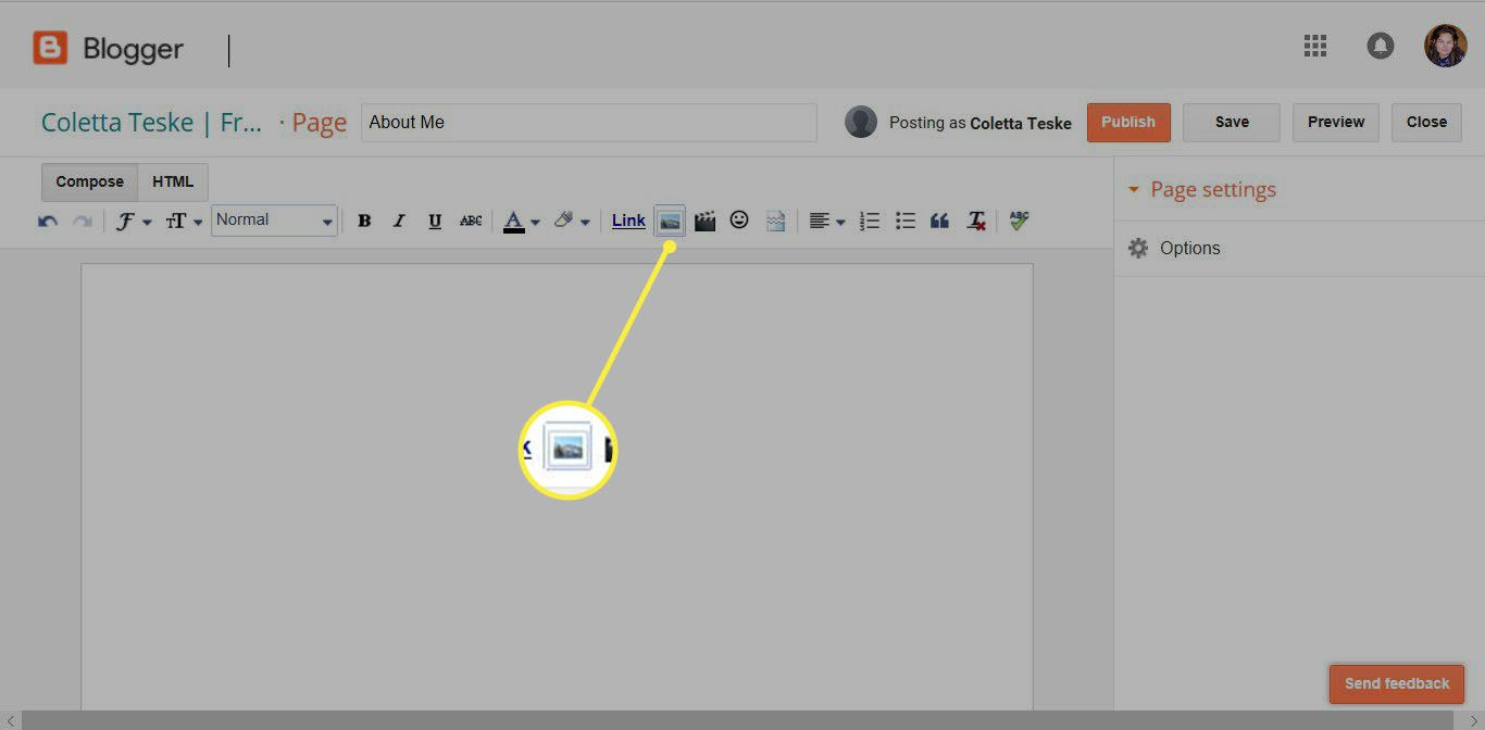 how to upload image on Google using Blogger