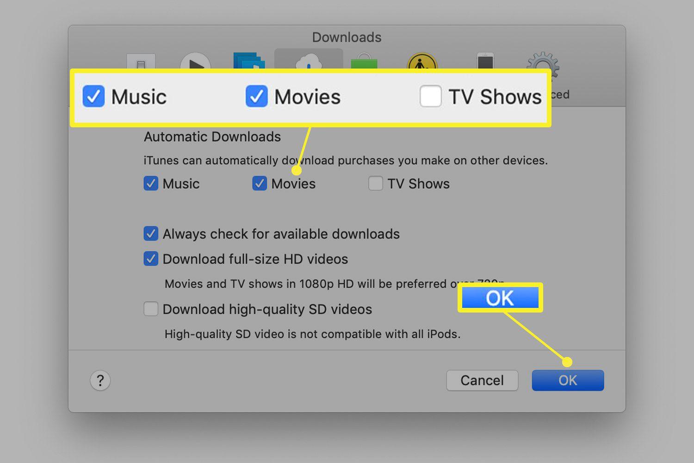 Downloads preferences screen