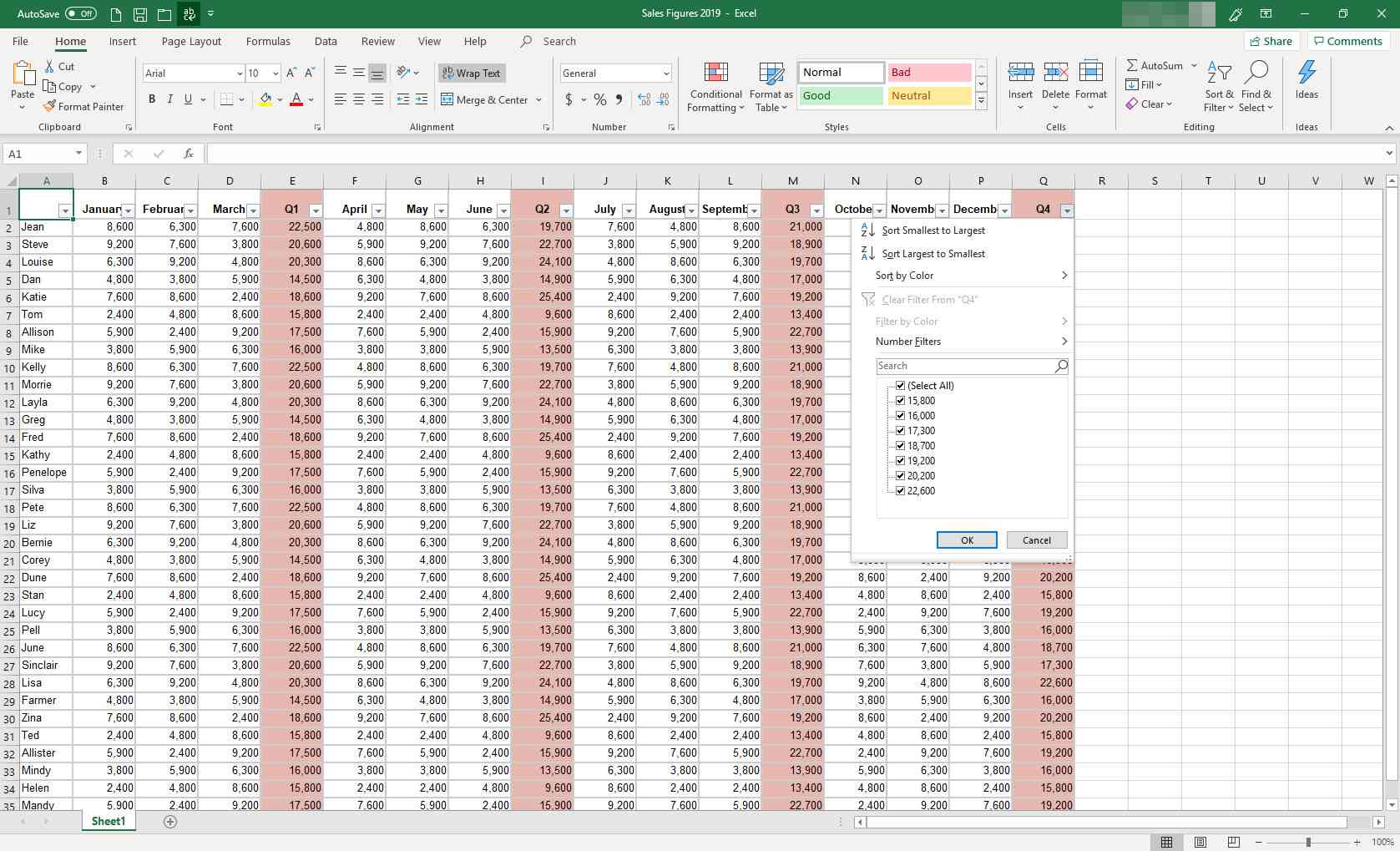 MS Excel with filtering dialog box displayed