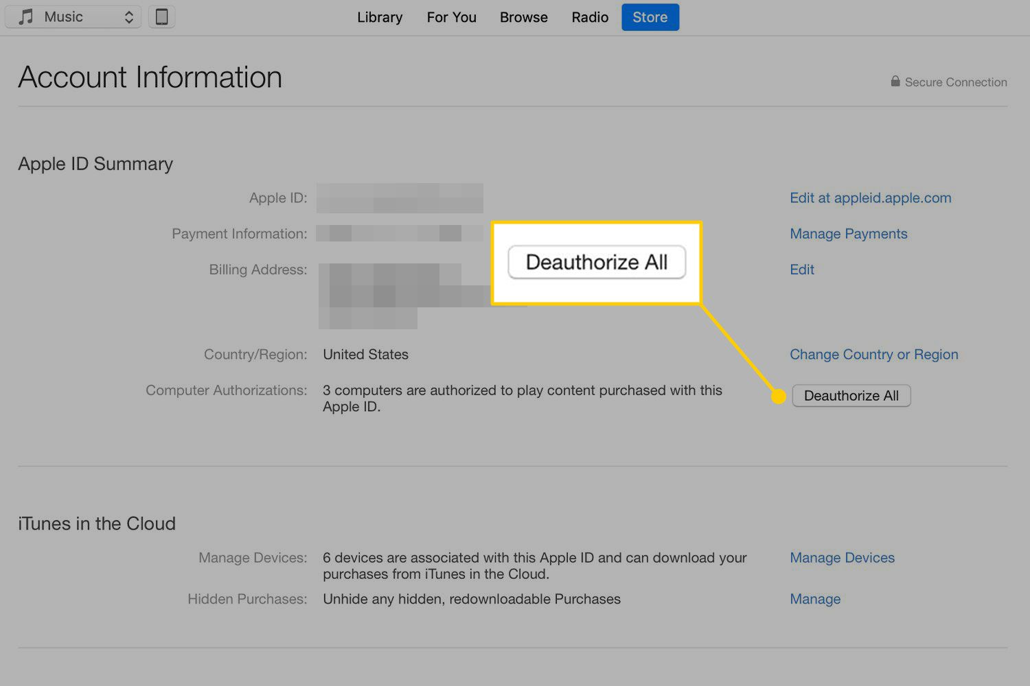 Deauthorize All button in iTunes Account Information