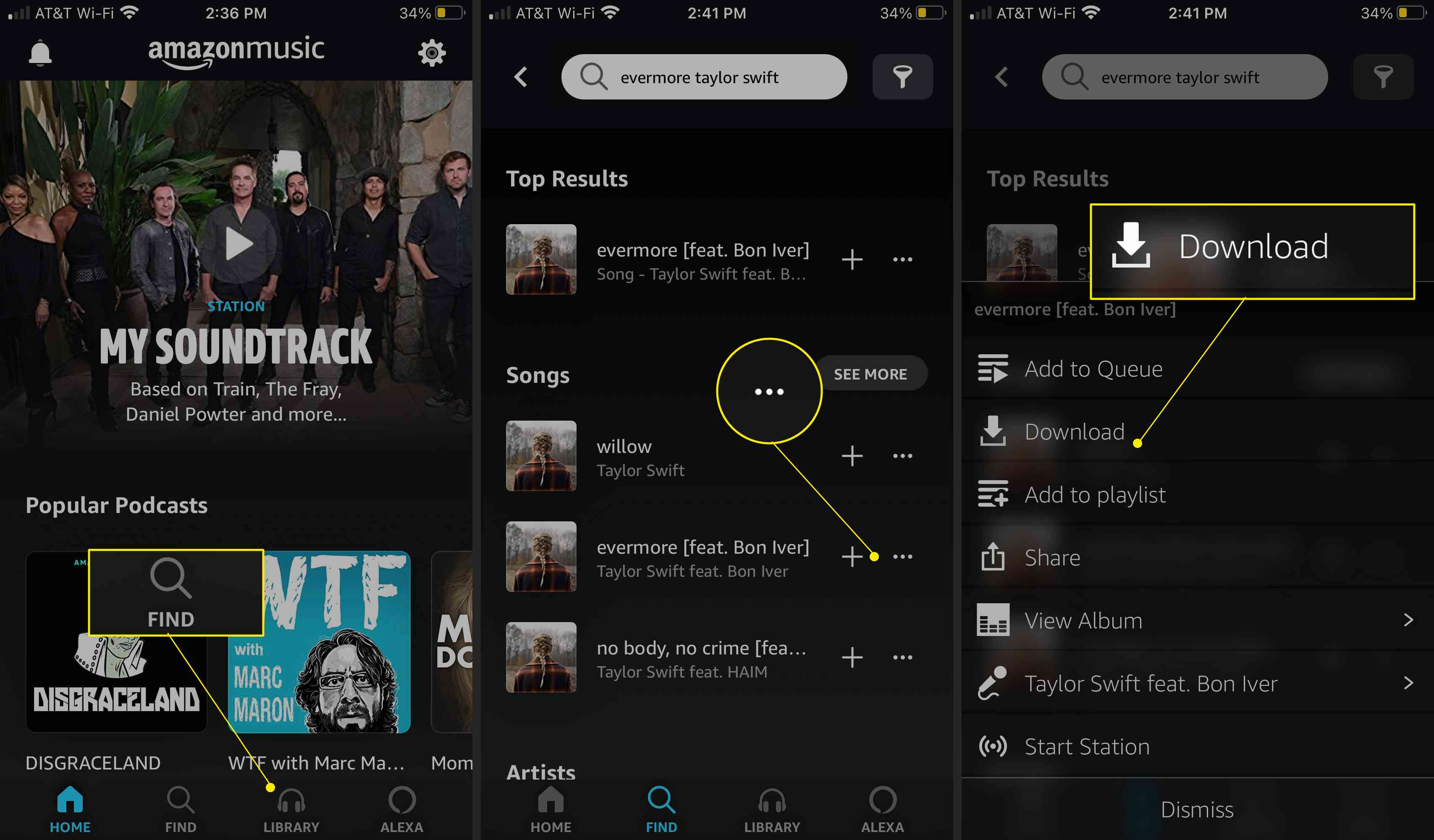 Amazon Music app with Find, More Options (three dots) and Download highlighted