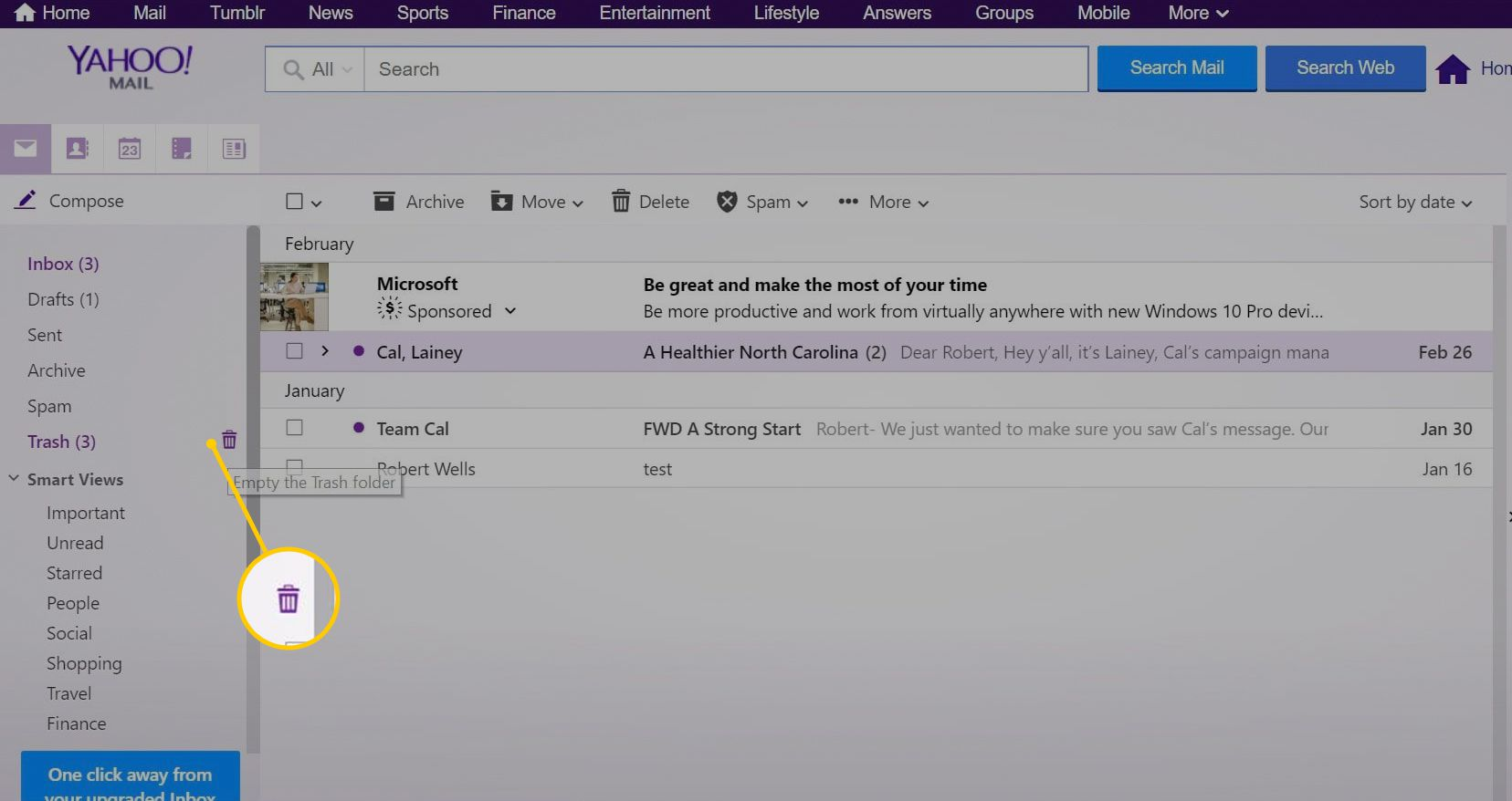 How to Empty the Trash in Yahoo Mail