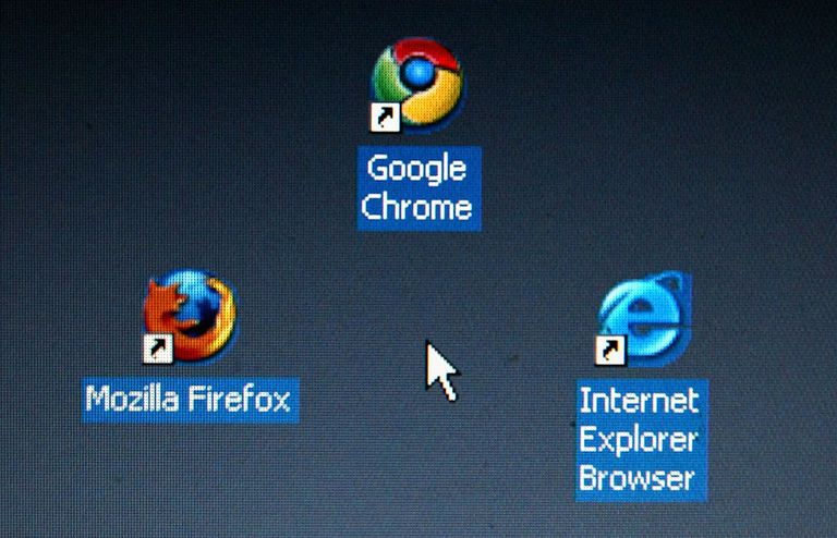 Browser desktop icons: Firefox, Chrome, Internet Explorer