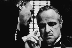 Still black and white image from The Godfather of Marlon Brando