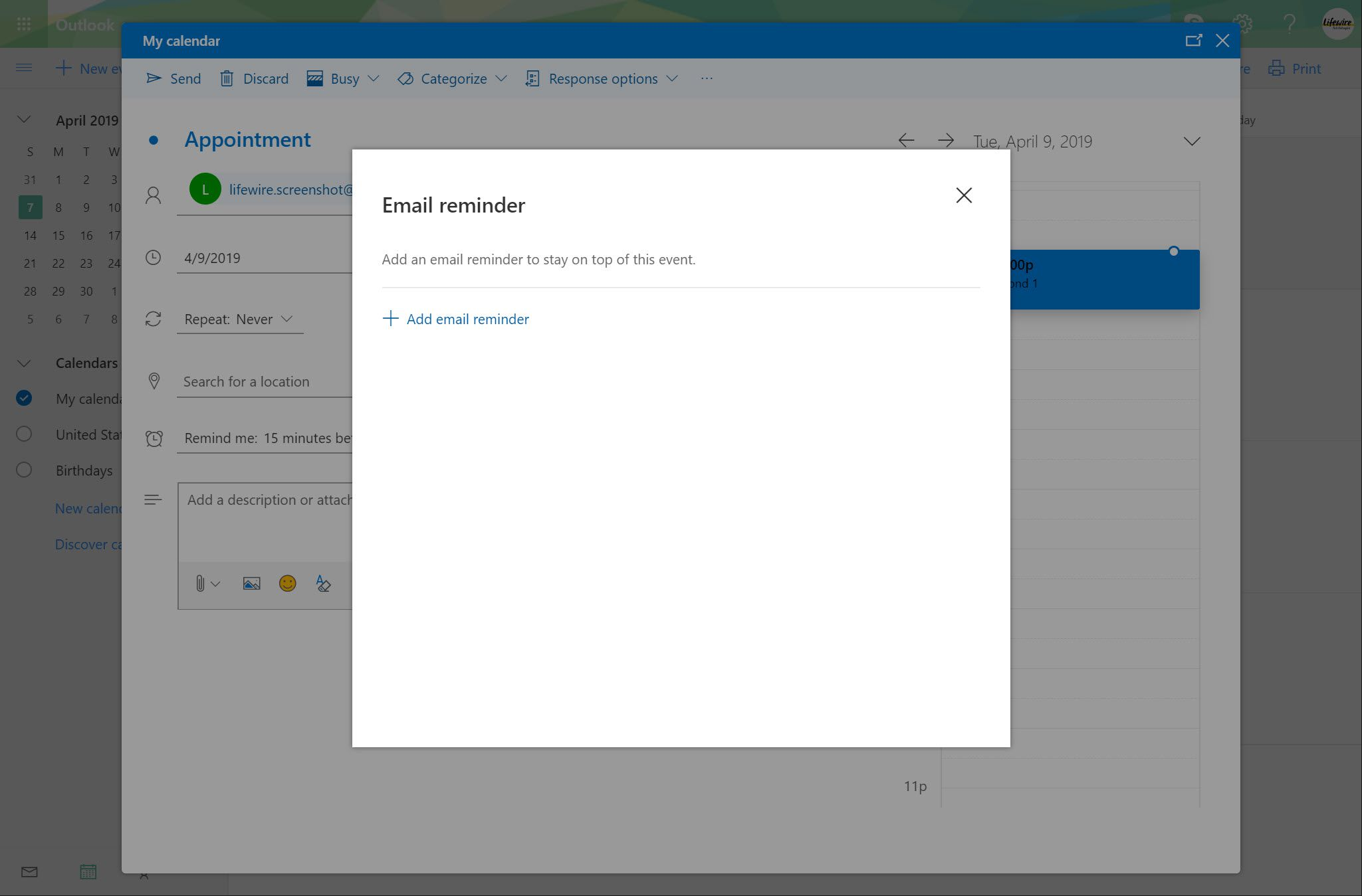 Outlook.com Email reminder window with Add email reminder option