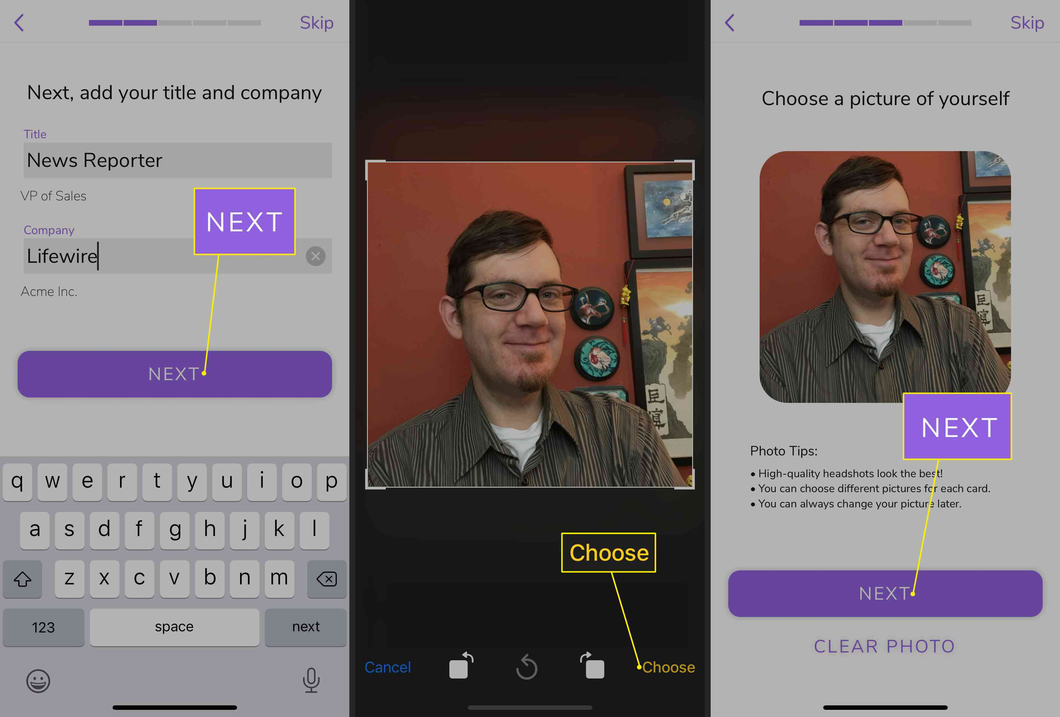 Next, Choose, and Next in HiHello app for iOS