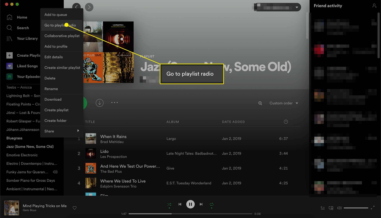 Spotify go to playlist radio