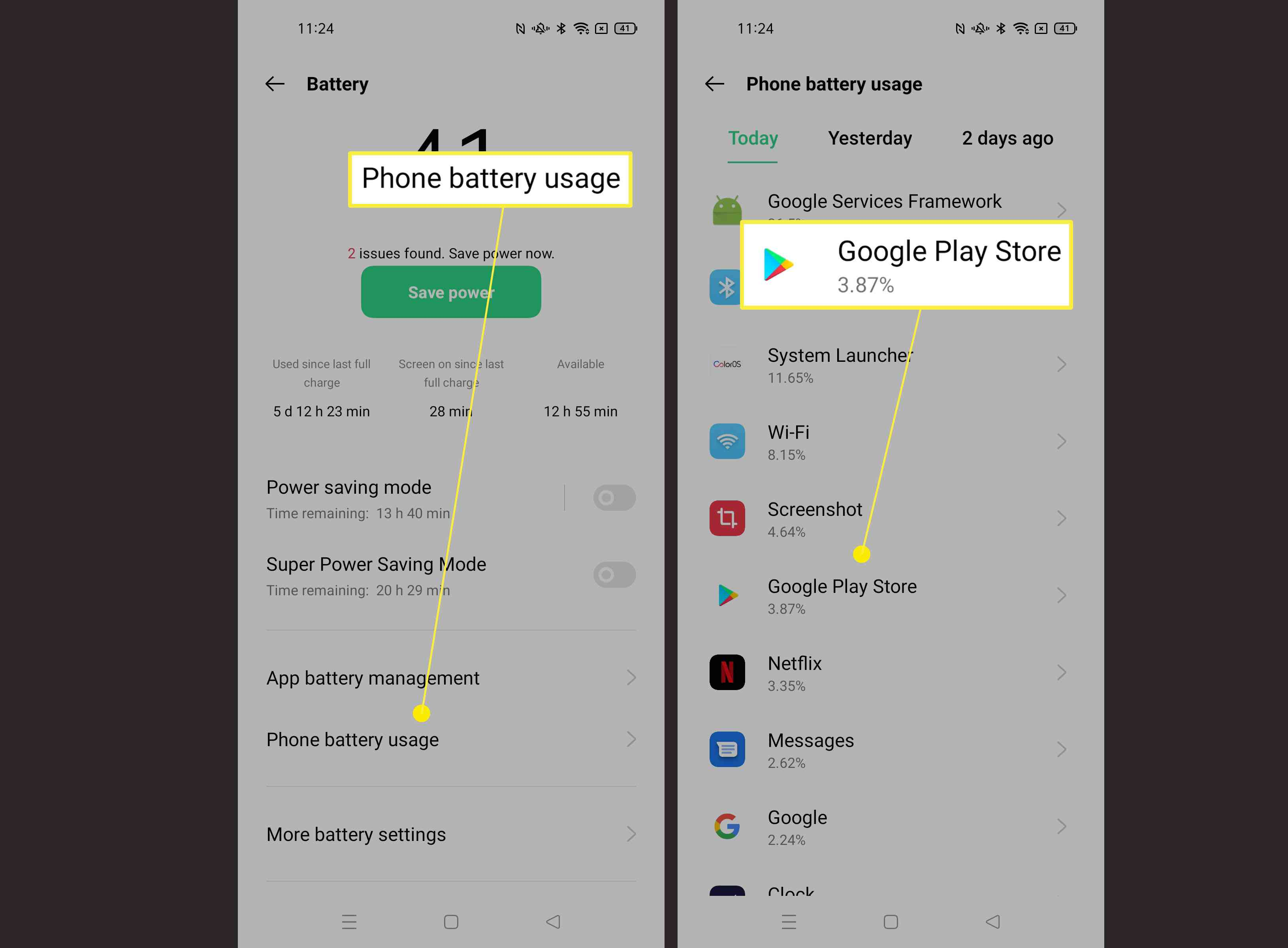 Steps required to find out more about battery usage of each app on Android