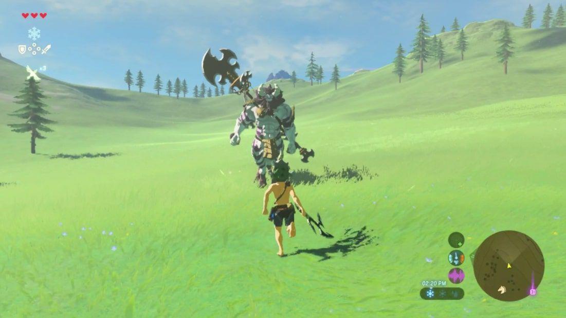 Link wields the Lizal Tri-Boomerang in Zelda BOTW