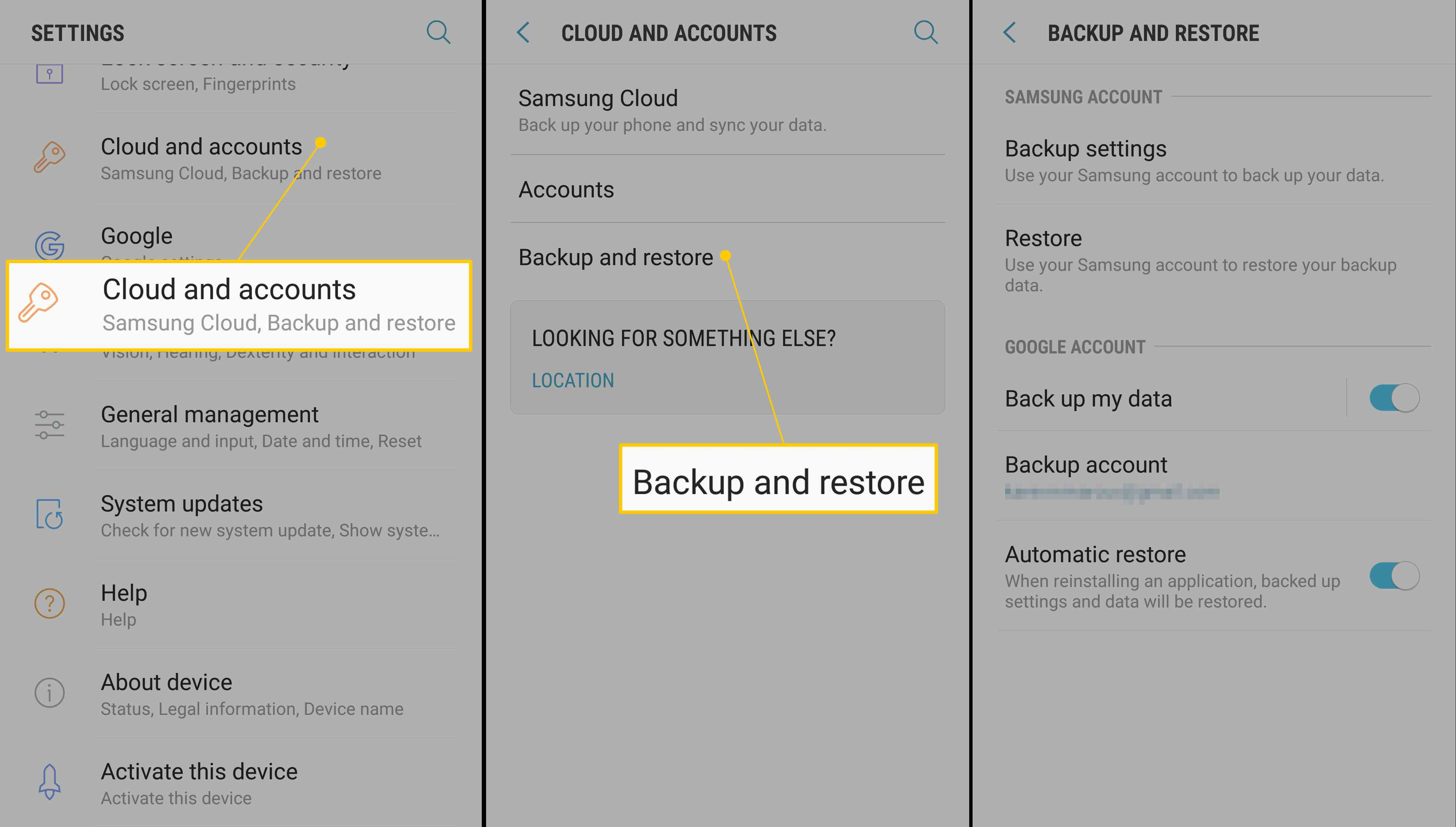 Cloud and accounts, Backup and restore, options in Android Settings