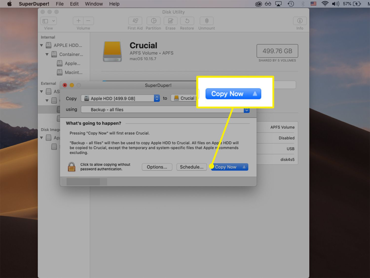 Copy Now button highlighted from SuperDuper cloning software for macOS