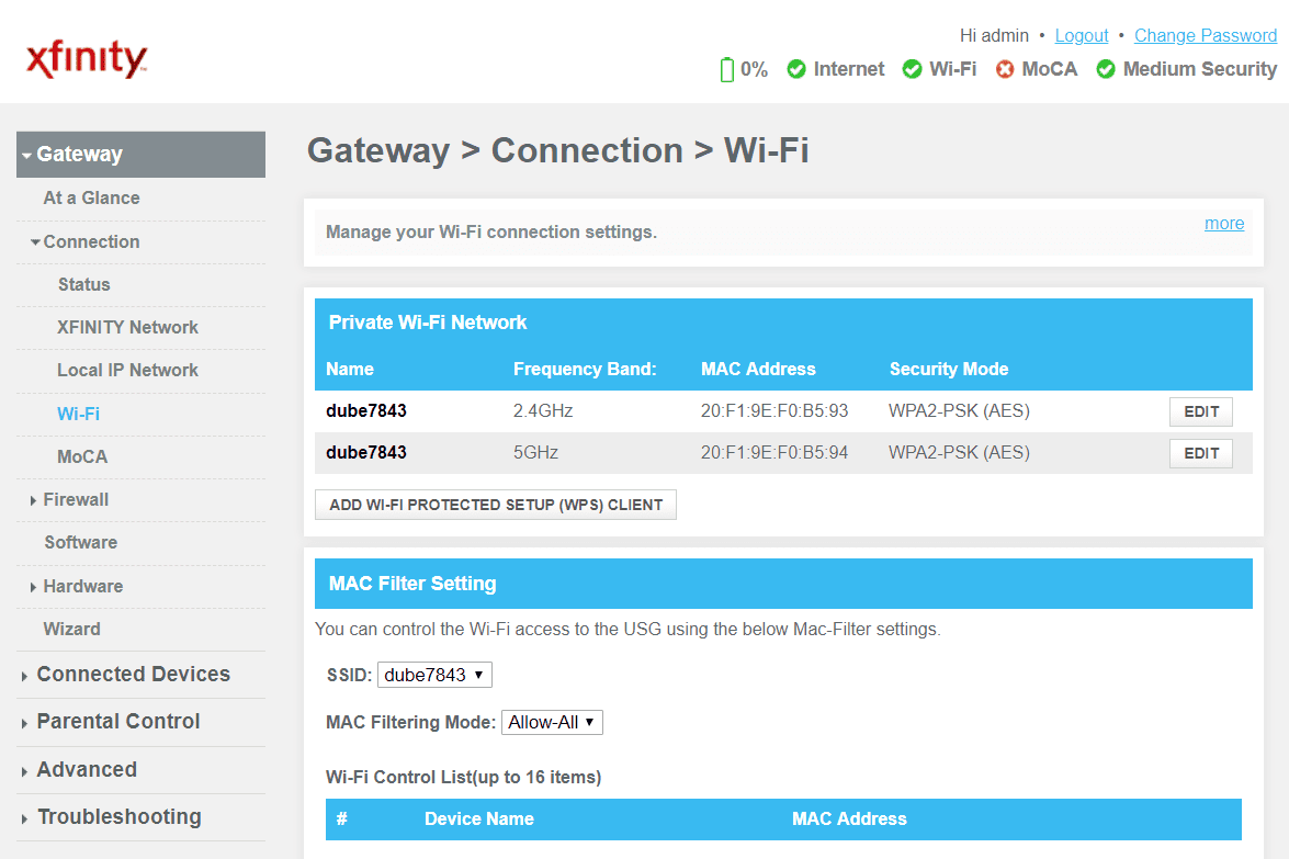 Screenshot of Wi-Fi connection settings in the router
