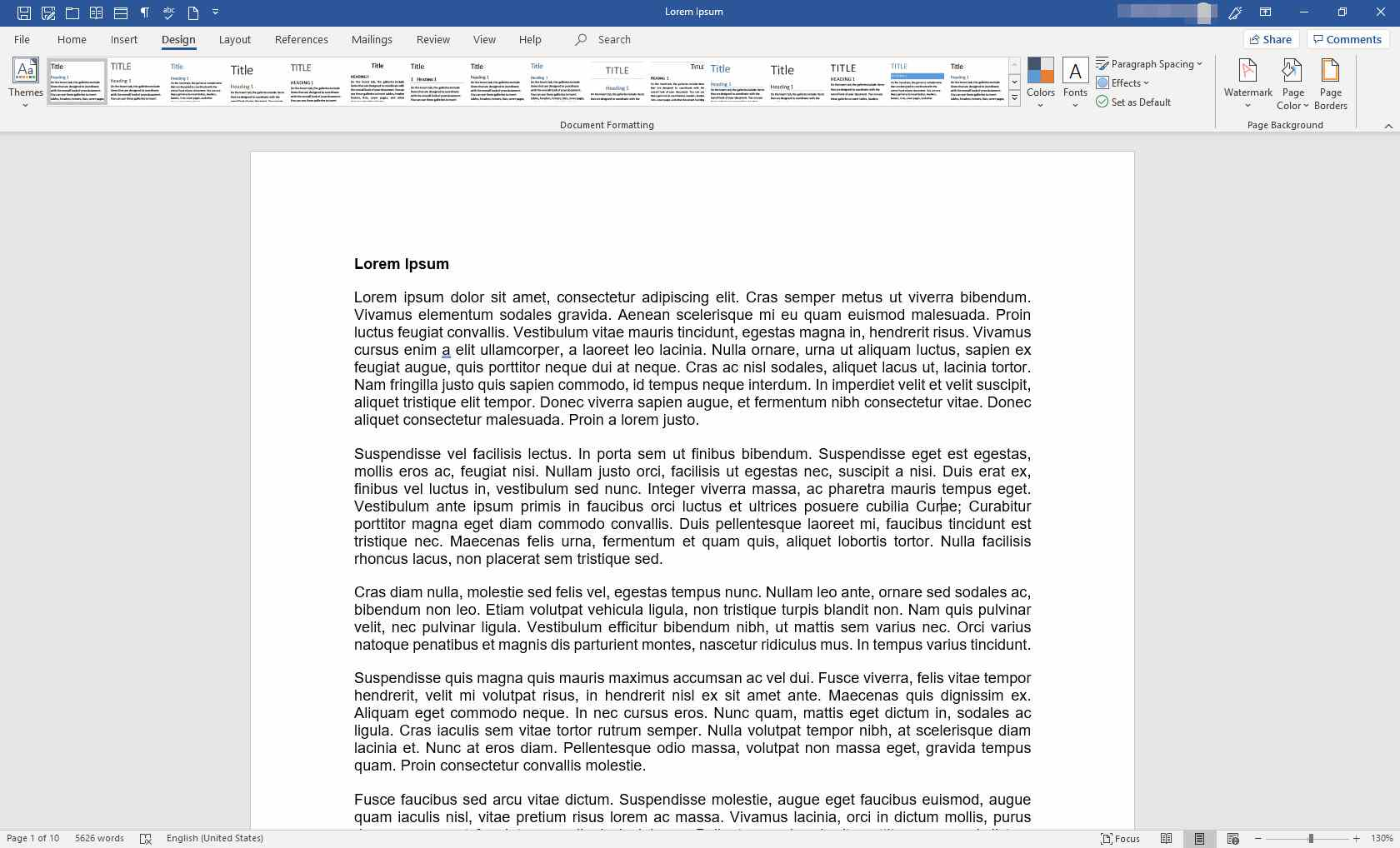 MS Word document with text border removed