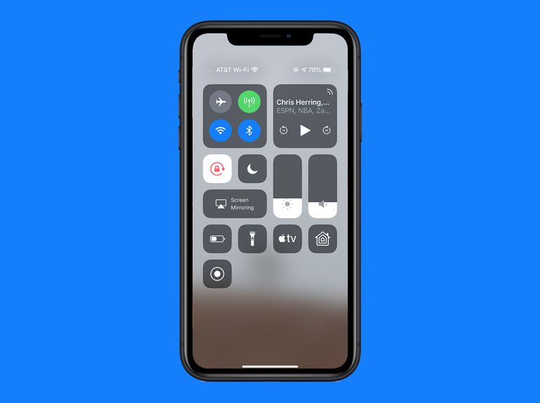 control center in iOS 12