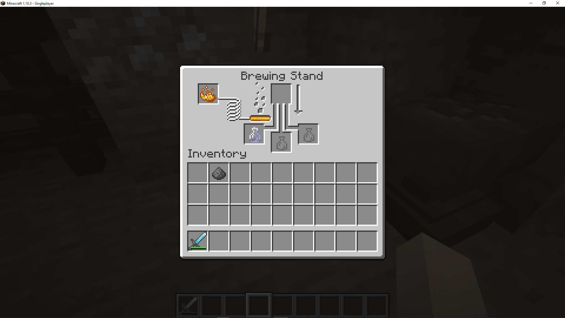 A screenshot of the minecraft brewing interface with a luck potion.