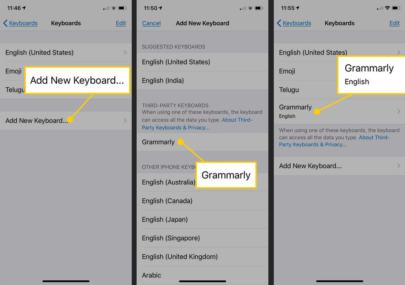 Activate new keyboard in iOS